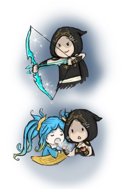 im-a-creeper:  *Q* So cuties, i love Ashe and my sweety support Sona <3