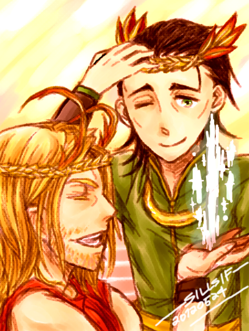 sillsif:   Thor: This looks quite right on me, brother. Loki smiles and says nothing.  Peaceful days when they would make fun of the helmet of each other, then trying to wreath a leafy crown  for one another. Loki used his tricks to make a mirror, so that Thor could see how he looks like with the crown. Days when they could both be crowned and nothing matters. Asgard seems to shine a bit too much. I love this one myself.  DAAAAWWWW!