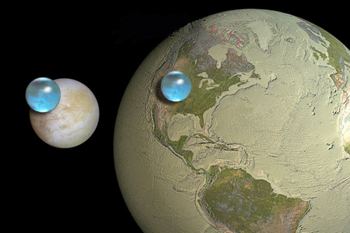 carlzimmer:  Compared to Jupiter's moon Europa, our planet is practically a desert, as this NASA image shows. It's a computer visualization showing Europa and a dried-out Earth, with the volume of all their water represented by blue spheres. (Details at APOD: 2012 May 24 - All the Water on Europa)  :D :D :D