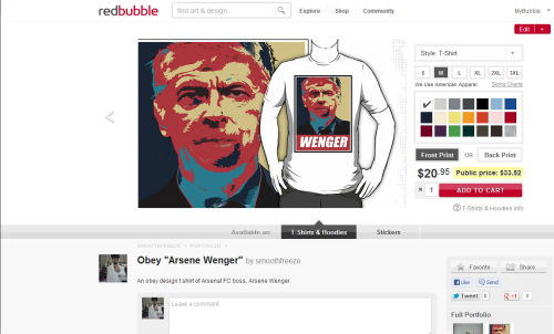 "onthegroundnow:  My Obey ""Arsene Wenger"" is up for sale on RedBubble! Available as t shirt, v neck t shirt, long sleeve, and hoodie. Women sizes available too! Not interested in clothing? Go get a sticker instead!  Check it out!"
