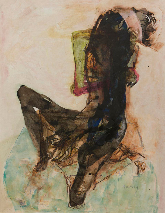 Shawki Youssef. That sick hope of this becoming a past, 2011. Mixed media on canvas, 120 x 93 cm.