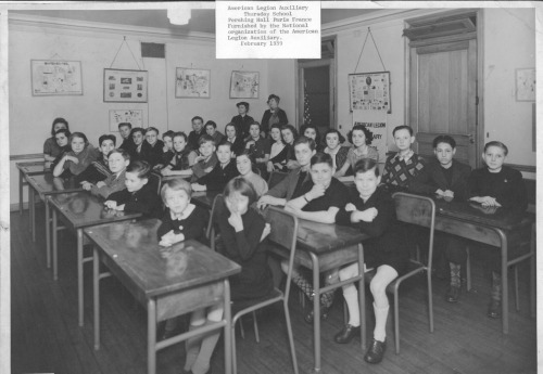 The American Legion Auxiliary Thursday School, Pershing Hall, Paris, France. Furnished by the National organization of the American Legion Auxiliary. February, 1939.