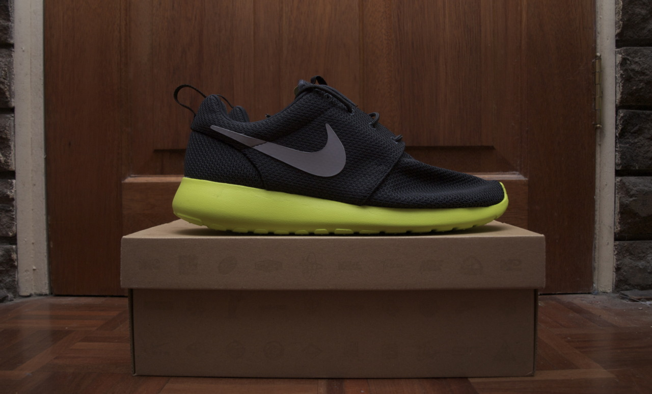 Nike Roshe Run - Anthracite/Wolf Grey-Cyber Yup, another pair of Roshe Runs for the collection. I can't remember the last time I was into a specific model of sneaker since the days of wanting every single SB dunk under the sun. These shoes are actually like Pokémon to me, I've got to get them all. If you haven't got yourself a pair yet, I can't recommend them more highly. You'll actually feel like you're walking on clouds.