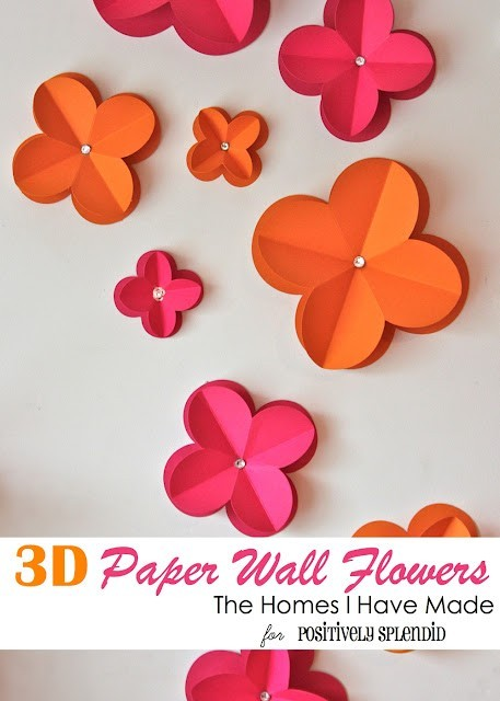 DIY 3D Paper Wall Flowers, via Positively Splendid