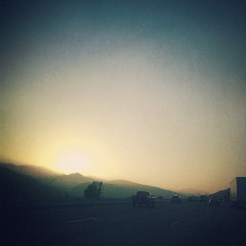 Sunset through the fog. #driving #sunset #15freeway #california #latergram #picfx #woodcamera #sierra  (Taken with instagram)