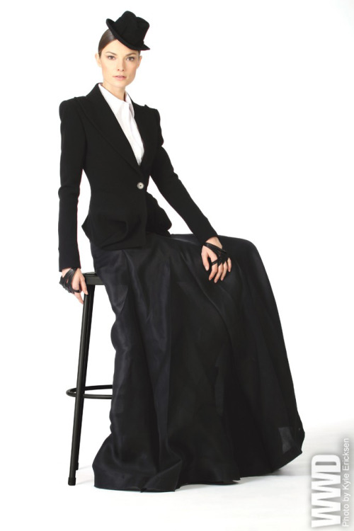 Fall 2012 Trend: Riding High Donna Karan's wool and spandex jacket and silk skirt with Paperwhite's cotton, nylon and spandex shirt. Donna Karan mini fedora; Perrin Paris gloves.