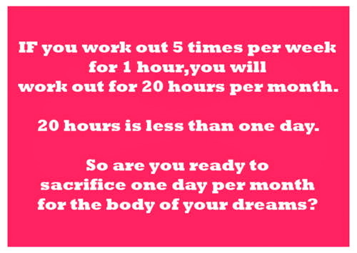 motiveweight:  Are you ready to sacrifice one day per month for the body of your dreams?