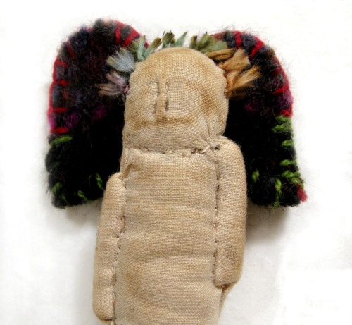 LITTLE TINY ONE: Primitive angel made of tea-stained muslin with recycled sweater felted wool wings; just a few inches tall.