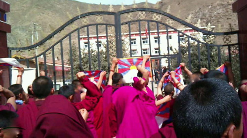 This photo is of a protest that took place on 21 March. Around 100 monks marched to the local government offices in Bhora Township. They were carrying Tibetan flags and images of the Dalai Lama and calling for freedom.