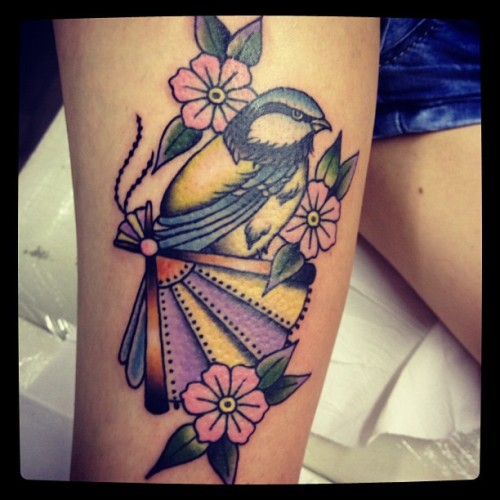 fuckyeahgoodtattoos:  SUBMISSION: My leg tattoo. Done by the amazing Elizabeth Jane Miles of Signs of Time and Merlin Tattooing.