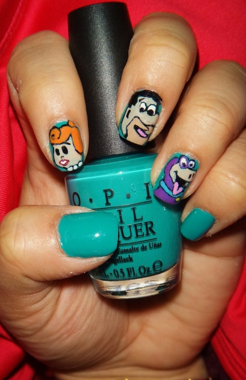 Flintstones: Wilma, Fred, and Dino using OPI's Fly.Enjoy! :)