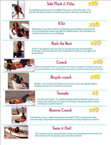 "Sunkissed Abs from Tone It Up {video here} Completed 5/23 Notes: - did double side planks (both sides each round)  - form sucked on skinny dips … blame the lack of arm strength - least favorite was Tornado ( mostly b/c I had to re watch it & didn't know what the move was …. also felt this one the most)  - for ""swim it out"" I did 10 of these each time  Wasn't a killer workout but definitely had me sweating & heart pumping  Also did 3 sets of 15 of wall pushups  (goal: to be able to do actual push ups)"