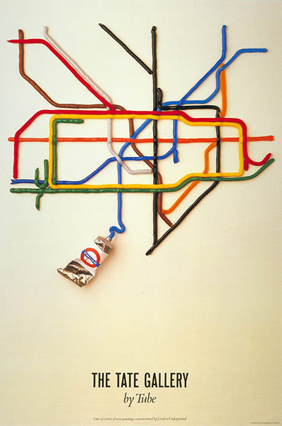 This is The Tate Gallery By Tube (1987), by David Booth of the design agency Fine White Line. Take a trip through the best examples of London cartography with a selection of pictures from Mind the Map exhibition at London Transport Museum