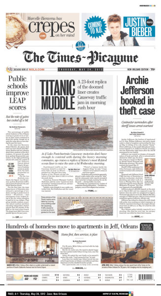 "shortformblog:  New Orleans' Times-Picayune cutting back on print editions, will focus on digital Major newspaper downsizes to three ""more robust"" issues per week: The New Orleans Times-Picayune, the largest newspaper in Louisiana, will downsize and stop publishing a print edition daily, moving many of their resources to online-only publishing and probably cutting jobs along the way. This isn't the first time the paper's gone digital-only. In 2005, Hurricane Katrina hit the city, forcing the paper to come out with a digital-only PDF for three days, because their printing presses were down. Eventually, the printing presses went back up, but the spirit of the paper never went down. Let's hope for their community's sake that these changes don't strip the community of that spirit. (above, today's cover, via Newseum)  FJP: At yesterday's GigaOm/paidContent conference we talked with Rob Grimshaw, Managing Director of the Financial Times, about the future of its print edition. While a totally different market than the Times Picayune, Grimshaw said that in ten years he sees the FT as a leaner paper targeted at core geographies (eg., London, Hong Kong, etc.) with more robust digital offerings driving the overall global brand."