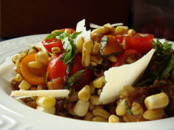 CSA Summer 10: Kamut Salad With Tomato, Corn, Roasted Sweet Pepper by ComeUndone on Flickr.
