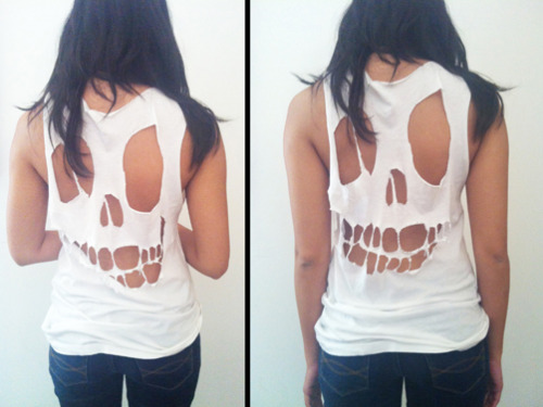 illscarlett:  DIY Skull T-Shirt What you'll need: oversized large t-shirt washable sharpie fabric scissors large piece of white paper 1. Sketch out the outline of your skull. We think the messier, the better, so don't be afraid to get a little sloppy. 2. Turn your shirt inside out with the back of the shirt facing up. Then put your skull outline inside. 3. Trace your outline. We chose to do dots since sharpies tend to drag on fabric and by not having a solid line we were able to deviate from the exact outline, like we said, the messier the better — and more organic looking. 4. Begin cutting by starting in the middle and snipping outward. If you use a washable Sharpie or other washable ink you won't have to worry about cutting on the outside of the dots as much. 5. For the teeth we found pinching the fabric where you want the tooth and haphazardly cutting gave a nice result. 6. Stretch out the fabric so the cuts don't look as manufactured — much better this way. 7. Voila! Or you can continue to cut off the collar and sleeves like we did. By doing this you'll achieve a slinkier silhouette. (Click the link for step-by-step pictures)