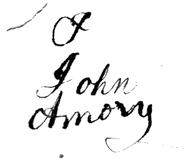 "Inscription of ownership - ""John Amory."" From the back matter of The Child's Instructor by John Ely (1818). Original from the University of Michigan. Digitized August 24, 2006."