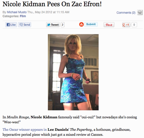 "Headline of the Day, courtesy of the Village Voice. Apparently Zac plays a very literal cheerleader who chants ""Gimme a P!"""