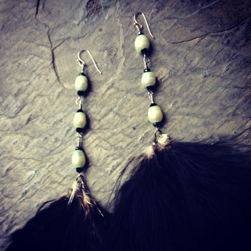 Terra mint #earrings #feathers #maribou #black #fwp  (Taken with instagram)