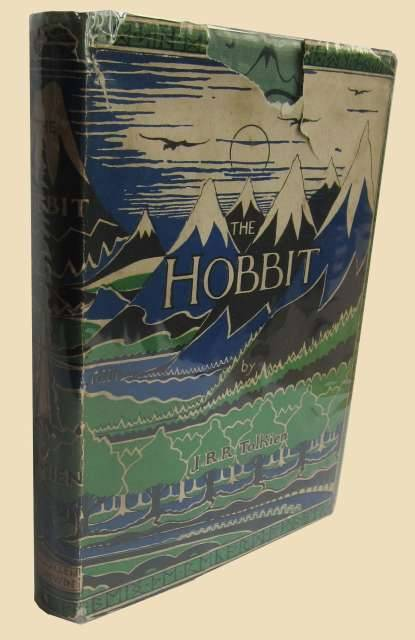 The Hobbit J.R.R. Tolken.  London, George Allen and Unwin Ltd., 1937.    First edition, first impression of Tolkien's first fantasy novel, a classic in children's literature. The original printing of this first impression numbered a mere 1,500 copies and sold out by December due to enthusiastic reviews. Only very few copies of this pre-WWII book with an unrestored dust jacket are left.  Original decorated dark blue-stamped green cloth, wove endpapers with maps of Thror and Wilderland in red and black, top edge painted in green, original unrestored first issue dust jacket on wove paper with coloured illustration of the Lonely Mountain and neighbouring mountains and forest in black, green and blue, back flap with the misspelled name of the publisher (Dodgeson instead of Dodgson) corrected in ink. Cover and dust jacket designed by Tolkien. Preserved in matching green half morocco drop-back box (CHELSEA BINDERY). With full page half-tone plate of Mirkwood facing page 146 and 9 black and white illustrations in text, all designed by Tolkien. 310, [2] pp. (pp. [1-2] blank).