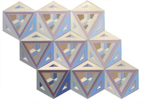 Alvin Loving  9 Septehedrons, 1969.  Assemblage of nine joined shaped canvases, each acrylic on canvas. Approximately 1400x1930mm; 55x76 inches.