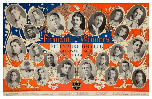 "1909 Pittsburg Pirates Team PosterDid you know that ""Pittsburgh"" officially dropped the ""h"" at the end of the city name from 1890-1911! In 1890, President Benjamin Harrison established the U.S. Board on Geographic Names in order to establish order in the naming of cities, towns, lakes etc. One of their first orders of business was that all cities and towns that ended in ""-burgh"" had to drop the h. The board finally relented and allowed the ""h"" back in Pittsburgh in 1911."