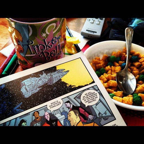 TinkCoffee, CaptainCrunch, and Invincible. Good Morning.  (Taken with Instagram at Wayne Manor)