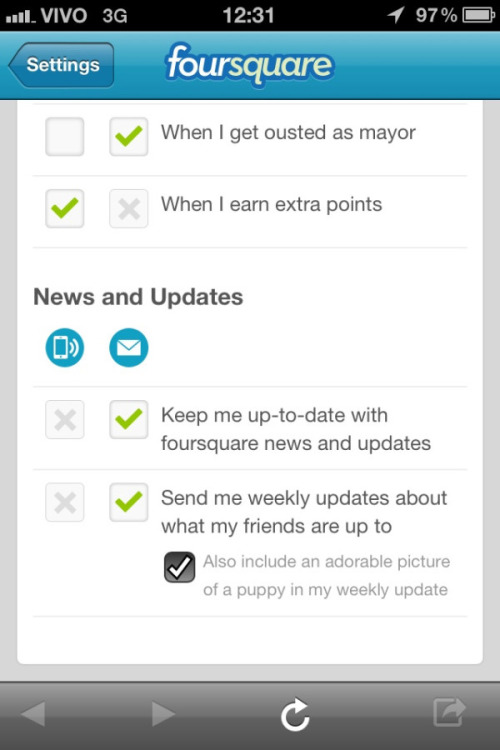 littlebigdetails:  Foursquare - In the iOS notification settings, the option to include adorable puppy photos in weekly updates is given. /via Rafacst  This does, in fact, exist.