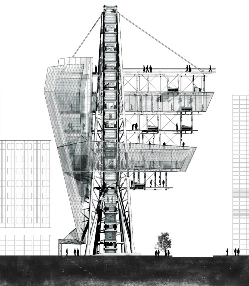 paavo:  SUBURBIA TOWER | Aaron Bermann Suburbia Tower, New York, NY Columbia University | Spring, 2012ADV. STUDIO VI | Manaugh / TwilleyIn between private rental periods, the detachable units of Mobile Suburbia are housed in a large vertical docking station in Tribeca - one of the most upscale residential neighborhoods in Manhattan. Upon arrival back to the docking station, the backyard unit is separated into two components: the lawn, and the deck, which are housed separately within the docking station. These two areas make up two of the three distinct zones within the project, that each have varying levels of privacy, commercialism, and community attachment.