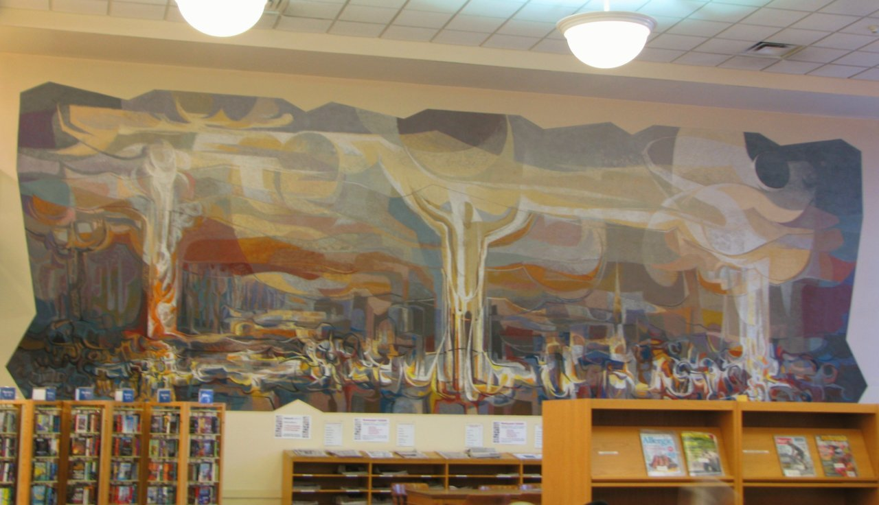 Indoor mural Downtown branch of the Kitchener Public Library
