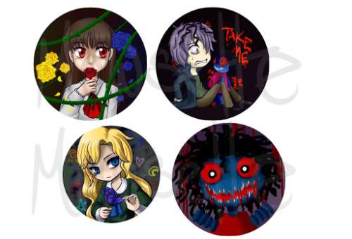 Set of Ib buttons for Fanime! 8'D I really loved this game (DESPITE FREAKING OUT ALL THE TIME and I wasn't even playing I just watched a let's play but it was still scary). The style I drew in ended up being different on all of them *sob* Garry why you so chibi and Ib so normal… ah whatever. @v@;;; Doll button was fun to paint but… still creepy… every once in awhile I'd go from other programs and when I'd go back to SAI I'd get a little startled wth. >3>;;;