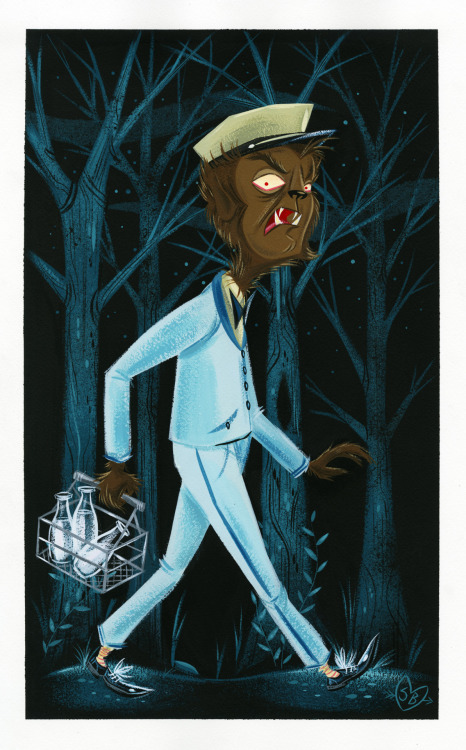 Wolfman/milkman! Painted with gouache on watercolor paper.