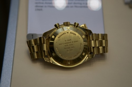 Omega dedicated 1,014 gold Speedmaster Professional watches in 1969 to commemorate the moon landing in that year. Forty of them were given to astronauts and members of the White House. Here is No. 1, offered to Richard Nixon, who didn't want to accept such an expensive gift. Go figure.