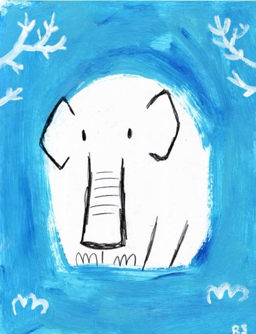 "I call this ""Blue Elephant, even though he is white."""