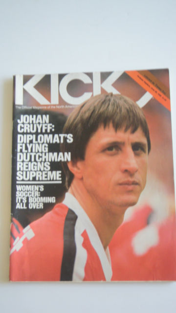 Cover of the NASL's official publication Kick magazine from 1980, featuring Johan Cruyff and with some positive words about women's soccer.