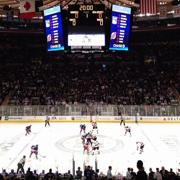 Opening faceoff at last night's Devils-Rangers playoff game (Taken with instagram)