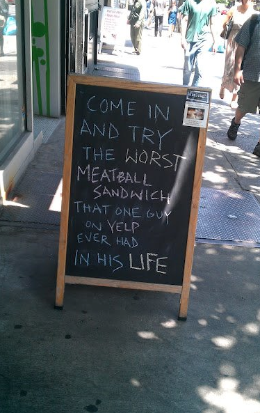 Taking a bad Yelp review and utilizing it for innovative marketing. We like it! What do you think? Share your ideas socially.  ***  post by Jordan benShea Established by Jordan benShea, SkyView Projects is a boutique marketing firm based in Santa Barbara, Ca and aims to help brands maximize their potential through strategic direction and utilization of innovative marketing initiatives. SkyView Projects specializes in social media and brand development and has clients near and far. Learn more at SkyViewProjects.com.