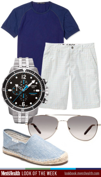 menshealthstyle:  Keep it #casualchic for this #MemorialDay! Watch: TissotSunglasses: Mosley TribesShorts: Old NavyShoes: Soludos Shirt: Gucci via MrPorter.com