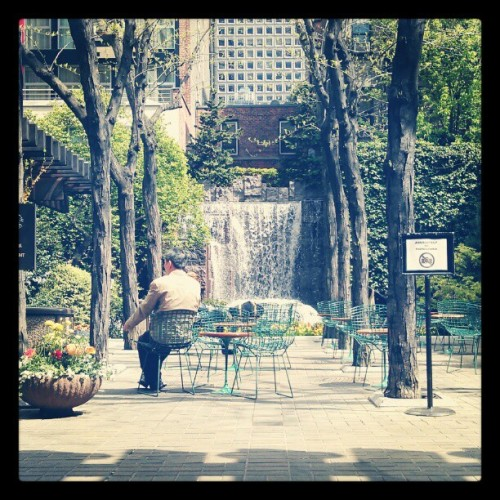 "Greenacre Park, Midtown NYC | Photo by Farah Momin for Savage Senses ""If there is magic on this planet, it is contained in water."" — Loren Eiseley, American anthropologist, educator, philosopher, and natural science writer Photographer's note: I happened upon this little oasis of a park about a month ago while on the way to the subway to run an errand for work. I was in a hurry, but I'm glad I stopped to snap this. It was indeed a magical moment, and I can't wait to find my way back there on a sunny Summer day."