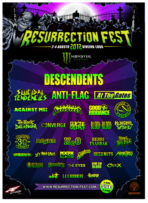 Spain: We are stoked to announce that we will be playing this years Resurrection Fest. It will be our first time in Spain! See you then!