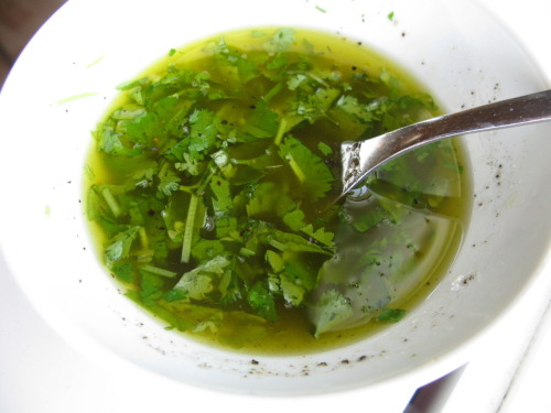 Cilantro and lime sauce Delicious with grilled fish or as a dip with a good freshly baked bread. INGREDIENTS 1/2 cup virgin olive oil 1 lime A handful of fresh cilantro 1 teaspoon freshly ground black pepper 2-3 pinches of sea salt PREPARATION Squeeze out the juice from the lime into a small bowl. Chop cilantro. Put cilantro and rest of the ingredients in the bowl with the lime juice and mix with a fork.