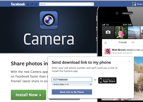 Facebook Camera - After clicking the install now button, a pop-up message offers to text you a direct link to the app, with your phone number pre-filled in. /via Taylor McKnight
