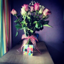 love-katee:  Today is five months, and I got roses and the cutest little card in the world. :) (Taken with instagram)
