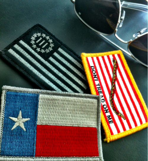 "New 2""x3"" tactical patches for my Goruck GR1. (found at Gadsen and Culpepper).  Why? Lone Star Flag: I'm a naturalized Texan U.S. Navy Jack: My dad served aboard the U.S.S. Shangri-La The 3 Percent Flag: An interesting perspective on how the Revolutionary War was fought and won."