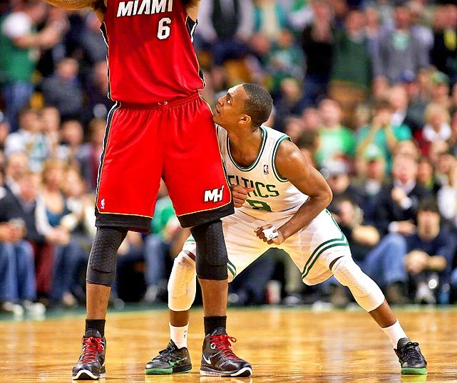Rajon Rondo eyes up LeBron James during a 2011 Heat-Celtics game. The Celtics and Heat are both one win away from an Eastern Conference Finals showdown, but first they need to get past the 76ers and Pacers. (Damian Strohmeyer/SI) GALLERY: Rare Photos of Rajon Rondo | LeBron JamesLOWE: Pacers having problems with Heat defenseLOWE: Can Celtics overcome injuries and Sixers?