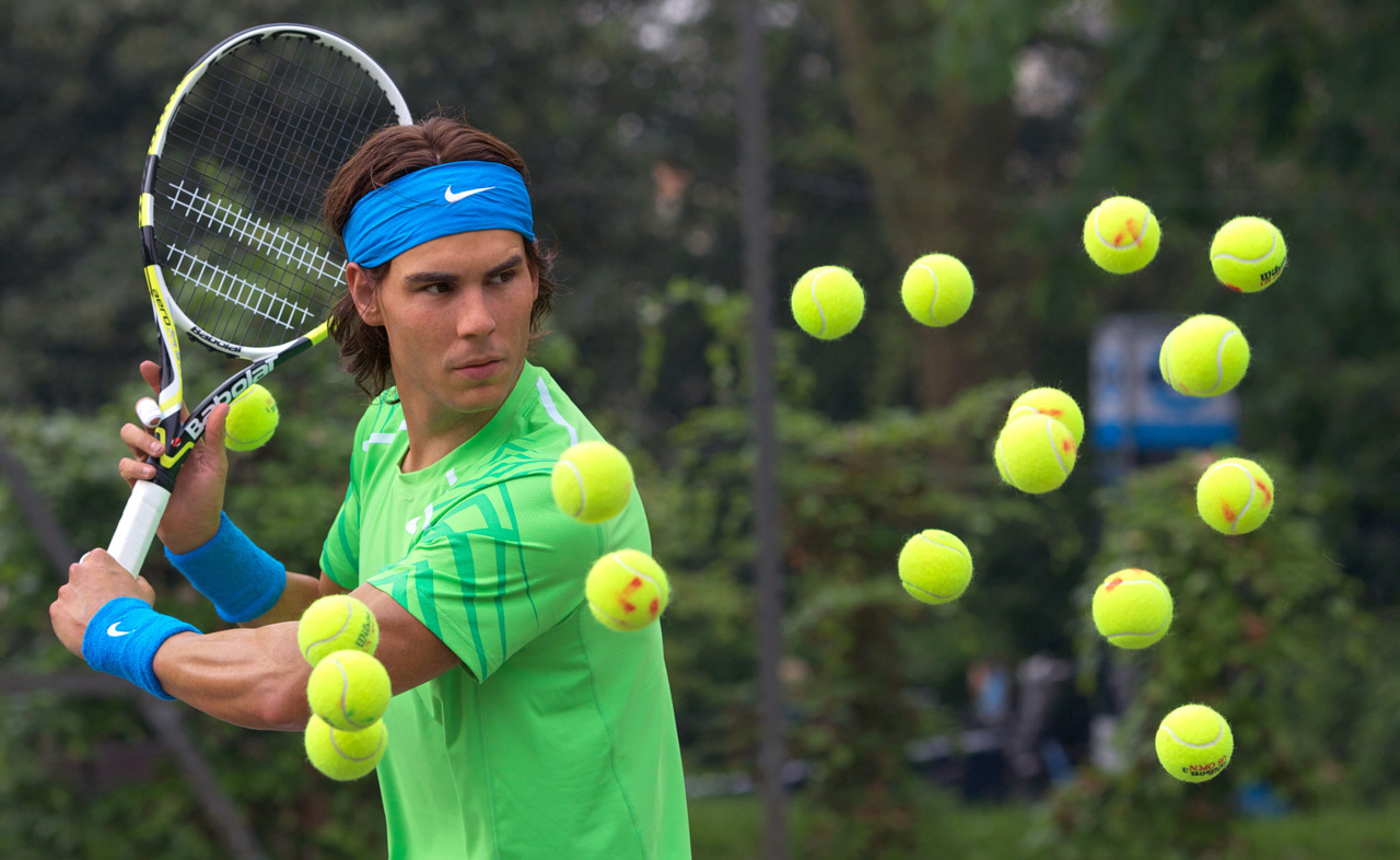 nationalpostsports:  If Rafael Nadal looks inexplicably calm to you considering there are about seven tennis balls heading for his face, relax. It's not Nadal. It's a wax figure in a London Park about to be placed in Madame Tussauds' wax museum. But it does look frighteningly real.