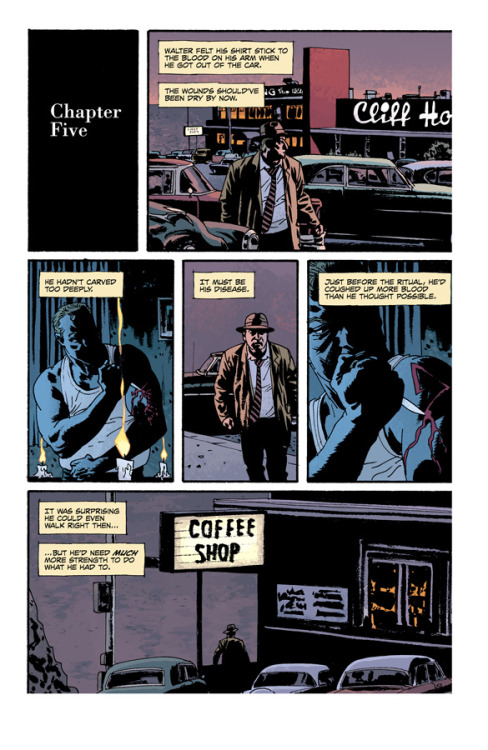 "Writer Ed Brubaker talks about FATALE at Comics Alliance:   ""I've been getting more interested in storytelling that has layers, I think. Two or three or more plotlines that weave around each other. And it seemed like a bigger challenge, to try to do three noir tales that are wound around a horror story examination of the idea of the femme fatale archetype. If you don't challenge yourself in your writing, you don't keep getting better. And I always want to try to push myself into doing things differently than I have before. I don't always succeed, of course, but trying to tell a bigger more sprawling story seemed like it would at least be a more interesting challenge, even if I failed."""