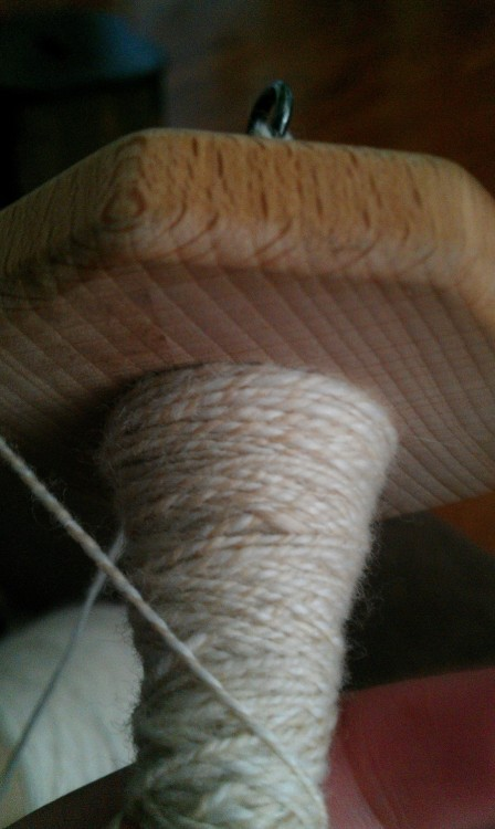 canelespeaches:  I looooove this so much! Tea dyed thread plied with natural thread. Soo pretty!