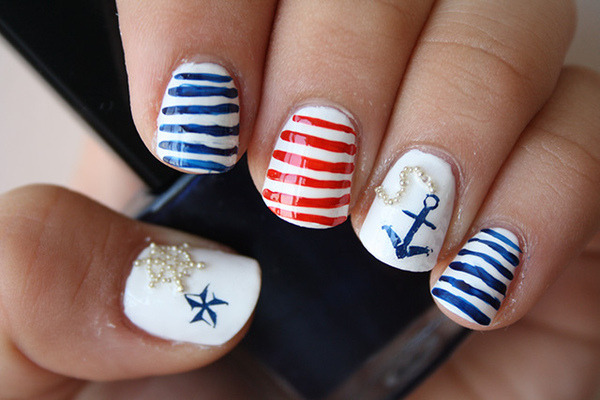 beautylish:  Ship Ahoy! Check out these adorable nautical nails from Stefi J.!
