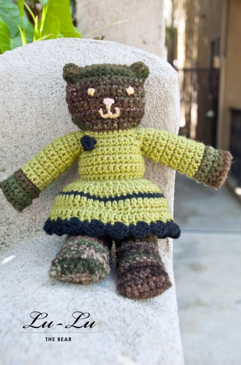 {made} — Lu-Lu the bear. Lu-Lu is a crochet bear for the Mother Bear Project. They are a great organization helping thousands of kids around the world who are affected by HIV/AIDS. People can knit or crochet up a bear, send it in to the project, and they mail them out all over the world. You can purchase the pattern from the Mother Bear Project for 5 dollars, they will mail you a physical copy of the pattern, and you send in your bear with 3 dollars when you are done to help with the cost of shipping them out overseas. We are collecting the bears at the shop, Wildfiber, to send in… she is the first of many I'll be making.I used some handspun yarn for the bear, and added a skirt and a little rose flower on the top of the dress to match the ruffle.